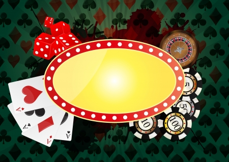 las vegas lights: illustration of yellow banner for casino with green background