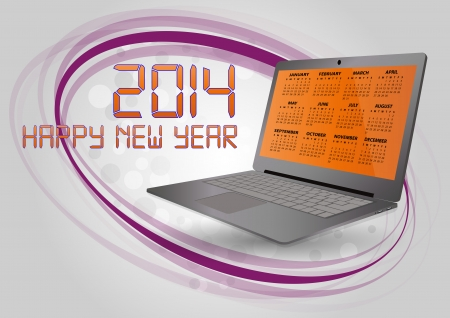 illustration of 2014 calendar on screen of laptop Vector