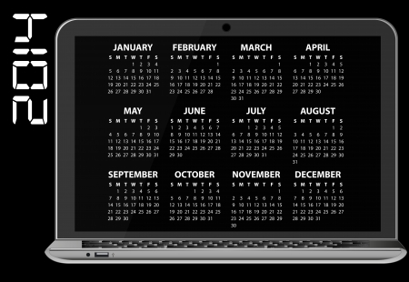 illustration of 2014 calendar on screen of laptop Stock Vector - 24507525