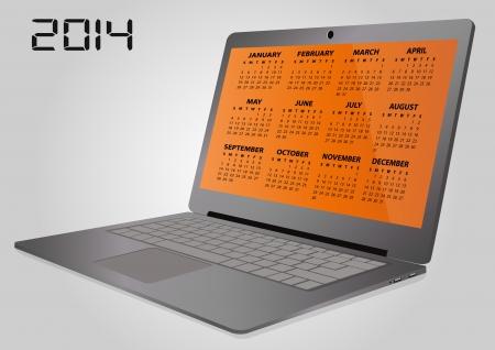 illustration of 2014 calendar on screen of laptop Stock Vector - 24507526