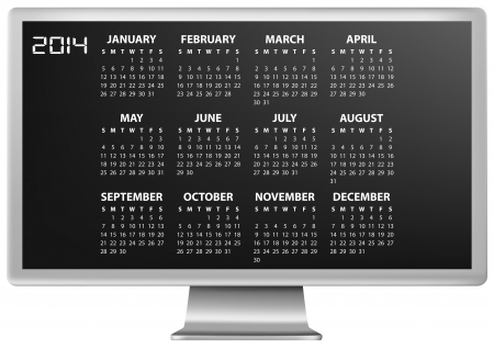 illustration of 2014 calendar on screen of monitor Vector