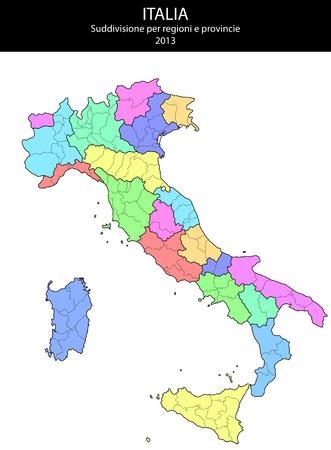 illustrazione della provincia Italia e regioni mappe Vettoriali
