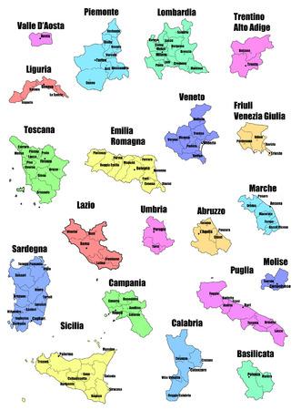 bundesl�nder: Abbildung Satz von Provinz und Region italien Karten Illustration