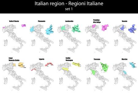 turin: illustration set of italy province and region maps  Illustration