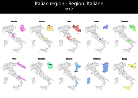illustration set of italy province and region maps  Vector