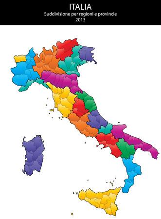 이탈리아 지방 및 지역지도 그림 일러스트