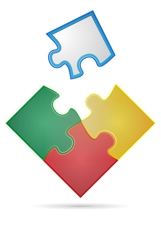 blank space: illustration of four pieces of color puzzle with blank space Illustration