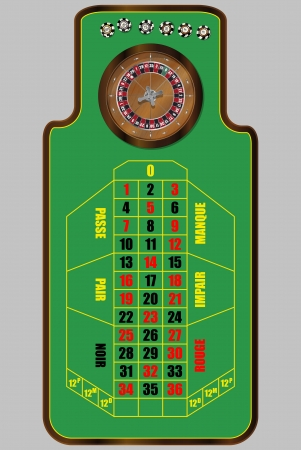 illustration of french roulette table, view from above Vector