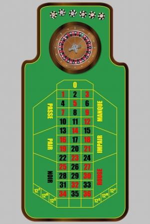 vista desde arriba: ilustraci�n de mesa de la ruleta franc�s, vista desde arriba