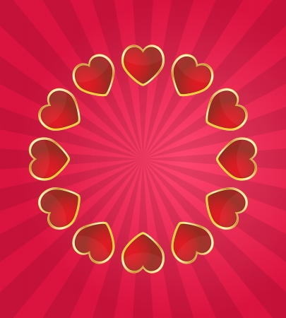 blank center: illustration of hearts with blank center and sunburst Illustration