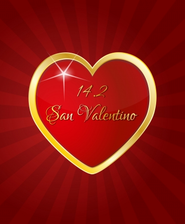 valentino: illustration of red heart with san valentino text in italian language