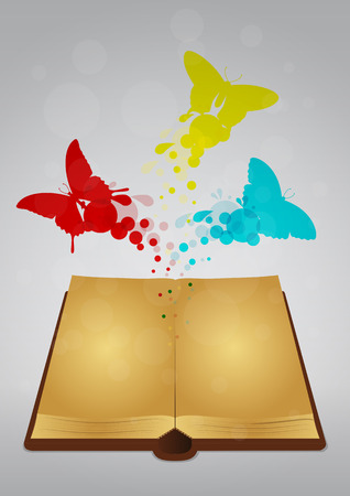 illustration of ancient book with colorful butterfly Vector