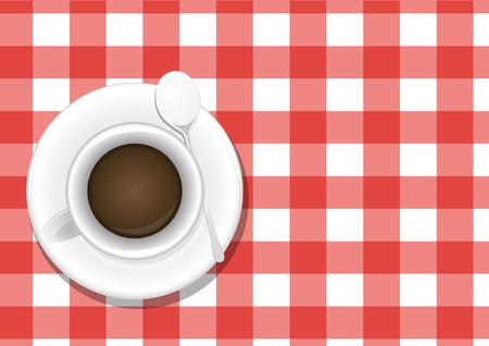 vista desde arriba: ilustraci�n de la taza de caf�, vista desde arriba Vectores