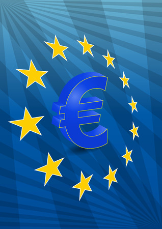 Illustration Of Euro Currency Symbol With Europe Maps Royalty Free
