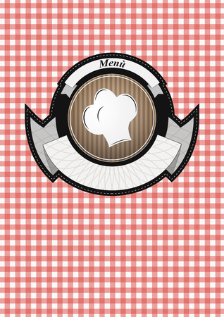 illustration of old vintage menu badge with hat chef Vector