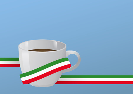 illustration of coffee cup with italian ribbon  Vector