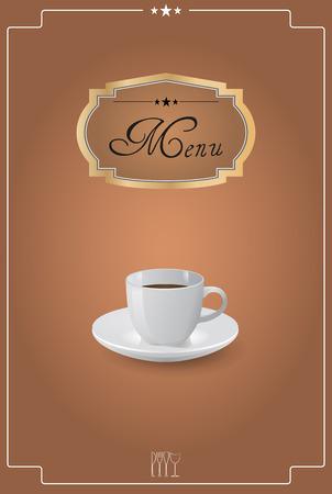 teaspoon: illustration of breakfast menu with coffee cup Illustration