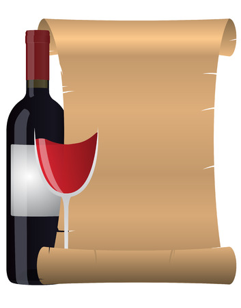 illustration of parchment with glass and bottle of wine Vector