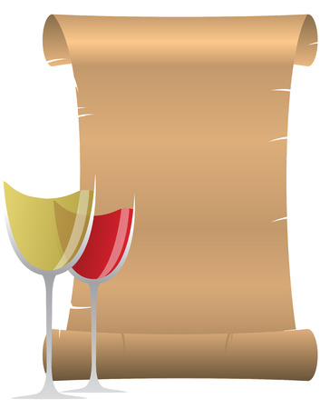 illustration of parchment with two wine glass Vector