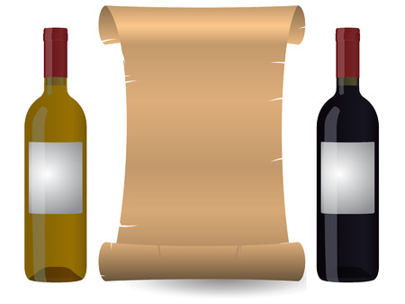 illustration of parchment with two wine bottles  Vector