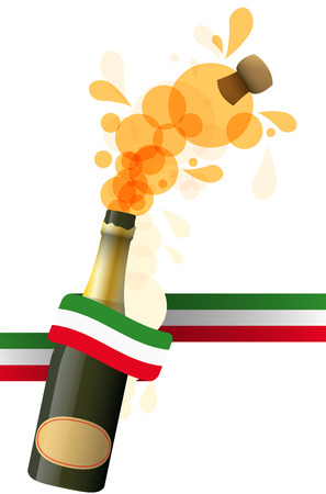 illustration of sparkling wine with italian color ribbon