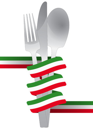 illustration of cutlery set with italian color ribbon Vector