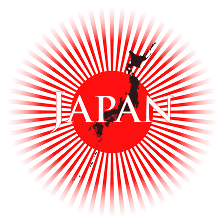 imperialism: illustration of nippon flag with rays and japan text Illustration