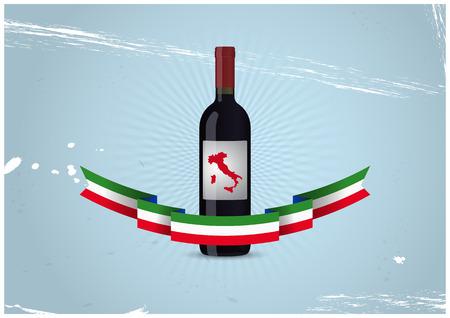 illustration of wine bottle with italian ribbon Vector