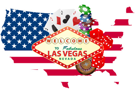 illustration of las vegas signal with casino object  Vector