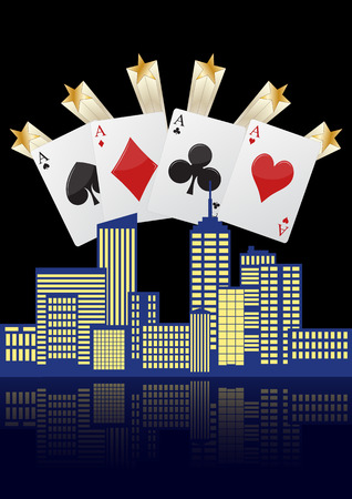 illustration of city with four aces poker