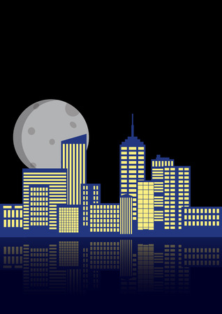illustration of blue urban city in night with reflection
