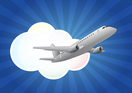 illustration of airplane with cloud and sunburst Illustration