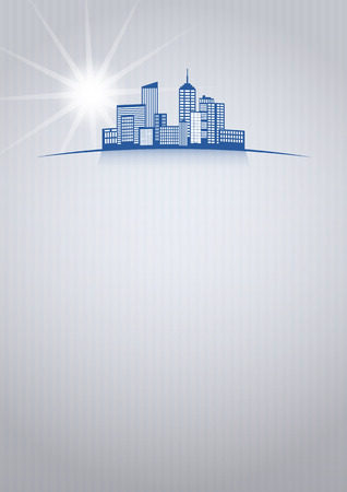 illustration of city skyline with blank area