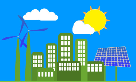 illustration of green energy with wind and solar panel Vector