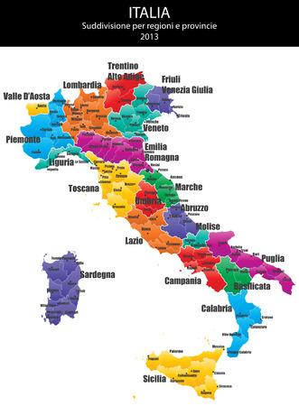 イタリアの州および領域のマップのイラスト