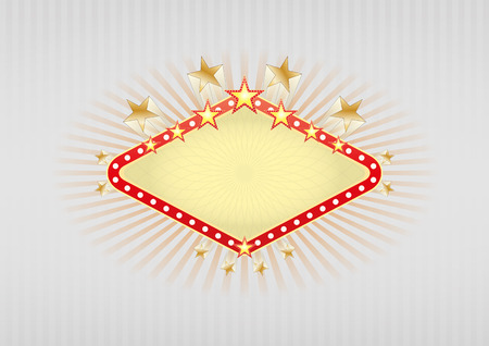 illustration of yellow banner for casino with stars