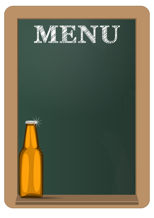menu on green billboard with beer bottle Vector