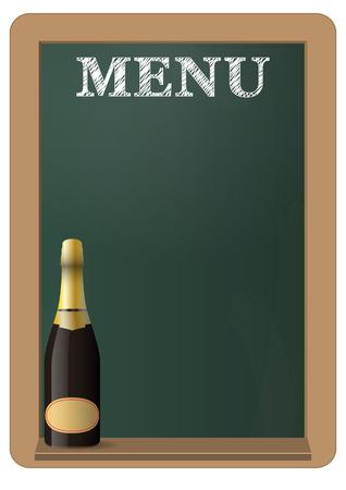 menu op groen bord met champagne fles