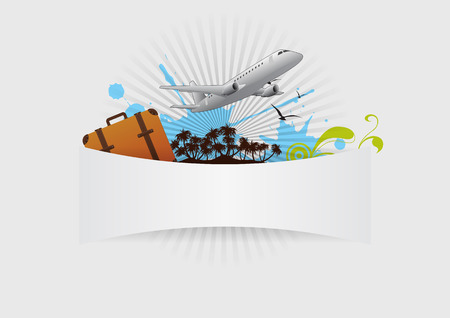 illustration of island and airplane with blank space Vector