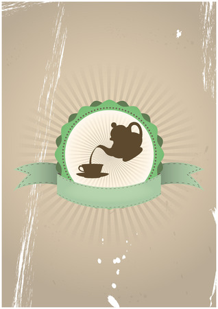theine: illustration of teapot and cup in vintage badge Illustration