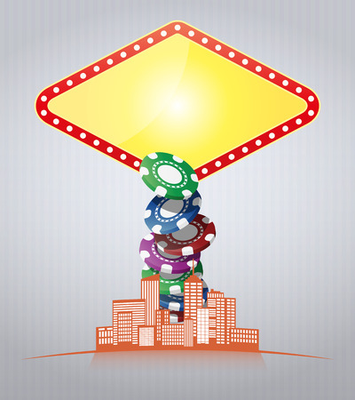 illustration of las vegas sign with urban city  Vector