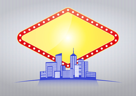 illustration of blank las vegas sign with urban city  Vector