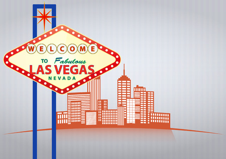 vegas strip: illustration of las vegas sign with urban city