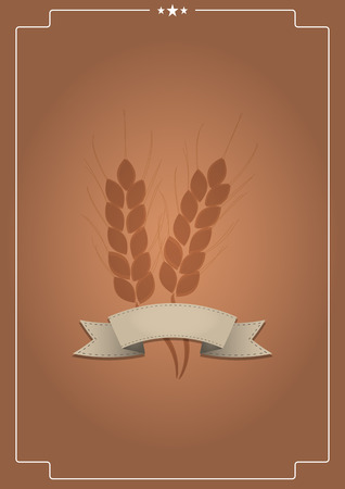 illustration of spike with blank ribbon and vintage background Vector