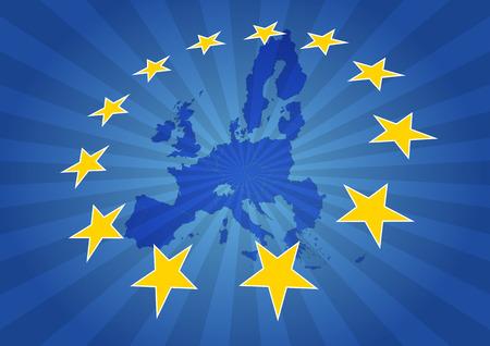 illustration of europe map with yellow stars  イラスト・ベクター素材