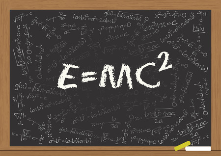illustration of e=mc2 formula on chalkboard Vector