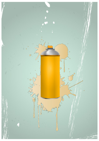 illustration of spray can with color stain  Vector