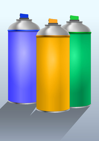 illustration of three color spray can Vector