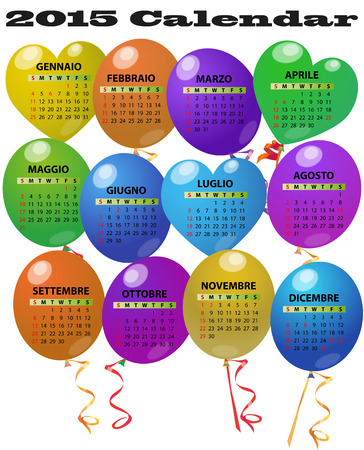 illustration of 2015 balloon calendar in italian language Vector