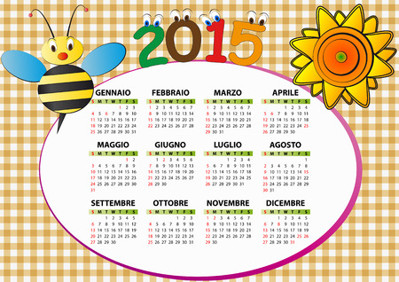 2015 bee and sunflower calendar for children in italian Vector